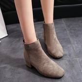 秋冬季新款襪靴百搭sw網紅短靴子方頭彈力靴粗跟中跟瘦瘦靴女 伊衫風尚