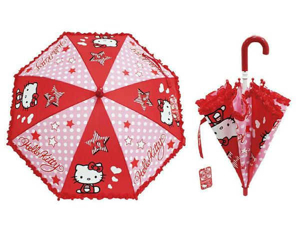 【卡漫城】 Hello Kitty 童傘 蕾絲緞帶 點點 小 ㊣版 兒童 雨傘 安全開傘設計 幼兒 凱蒂貓 雨具