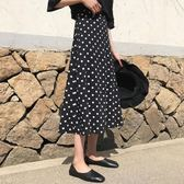 半身裙 黑色波點半身裙女春夏中長款a字高腰適合胯大腿粗的魚尾裙子 【新品】