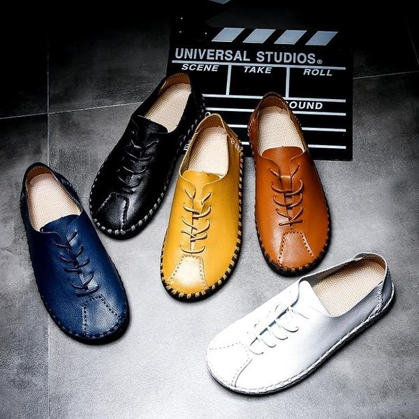 夏季加大號45手工真皮46男士休閒皮鞋47透氣寬版男鞋48特大碼皮鞋 降價兩天