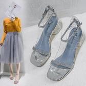 高跟鞋 羅馬涼鞋女夏新款水鉆透明仙女風一字扣帶高跟鞋女粗跟晚晚鞋 瑪麗蘇