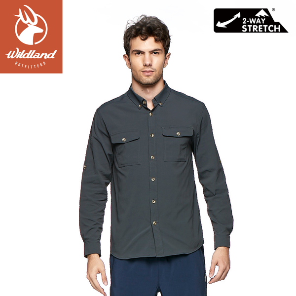 【Wildland 荒野 男 彈性抗UV長袖襯衫《尊爵灰》】0A81208/薄長袖/防曬夾克/薄外套