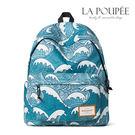 後背包 清新感捲捲海浪圖案A4大容量書包-La Poupee樂芙比質感包飾 (預購)