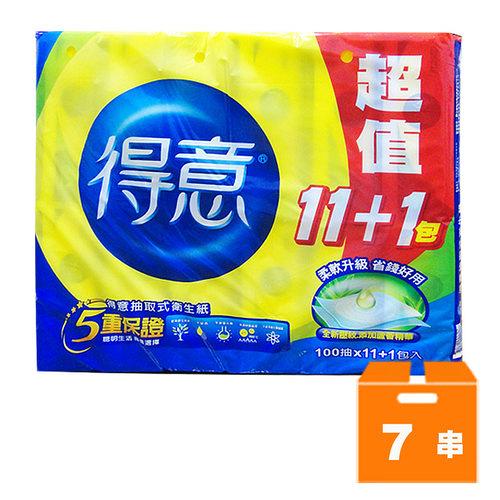 得意 抽取式衛生紙 超值(100抽x11+1包)x7串/箱【康鄰超市】