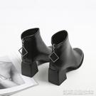 高跟短靴高跟短靴女靴子新款百搭中跟粗跟秋冬季馬丁靴春秋單靴秋鞋 【快速出貨】