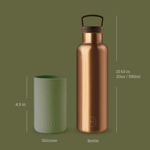 【HYDY】時尚保溫瓶 海藻綠-古銅金 (590ml)