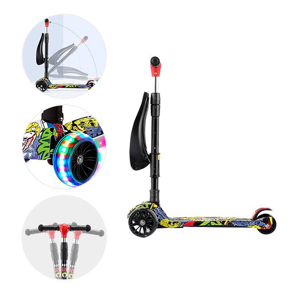 兒童滑板車 發光滑步車 可坐可騎燈光音效附坐椅 -JoyBaby