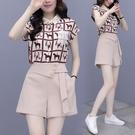 VK精品服飾 韓國風名媛氣質修身動物紋印花套裝短袖褲裝