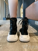ins襪子鞋女夏季學生飛織網面透氣鬆糕底老爹鞋百搭高筒運動鞋女 小時光生活館