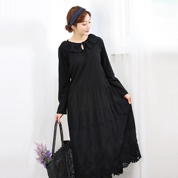 正韓 蕾絲刺繡鉤花鏤空洋裝 (6016) 預購