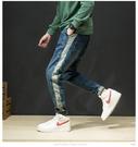 FINDSENSE H1日本 四季款 新款 潮男 藍色牛仔褲 哈倫褲 大碼寬鬆長