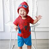 造型連身衣 蜘蛛人 連帽爬衣 男寶寶 哈衣 爬服 Augelute Baby 32004