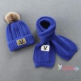 兒童冬天帽子 兒童毛線帽子圍巾兩件套裝加絨寶寶秋冬季男童潮男孩大童韓版冬天 5色