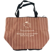 小禮堂 布丁狗 折疊尼龍環保購物袋 保冷環保袋 保冷提袋 野餐袋 (棕 條紋) 4990270-12994