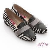effie 玩色系列 全真皮拼接斑馬紋平底鞋  黑白