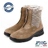 【IMAC】時尚義大利菱格設計款毛飾低跟女靴  淺咖啡(207999-MBR)