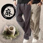 運動褲男 亞麻褲男夏季薄款休閒寬鬆直筒棉麻褲中國風大碼長褲男裝運動褲子 曼慕