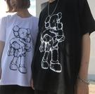 找到自己 MD 日系 潮 街頭 男女 情侶裝 寬鬆五分袖 抱抱熊 短袖T恤 特色短T