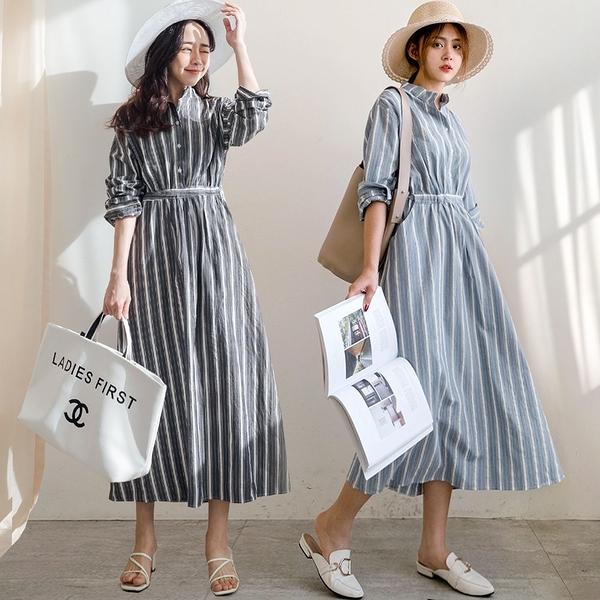 MIUSTAR 交錯寬細直條腰綁帶棉麻洋裝(共2色)【NJ0588】預購