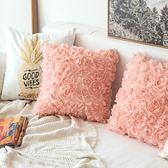 枕頭套抱枕套 新款北歐浪漫ins玫瑰花抱枕沙發靠墊臥室床頭靠枕抱枕套不含芯