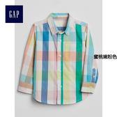 Gap男嬰幼童 時尚彩色拼接長袖襯衫 249886-蜜桃嫩粉色