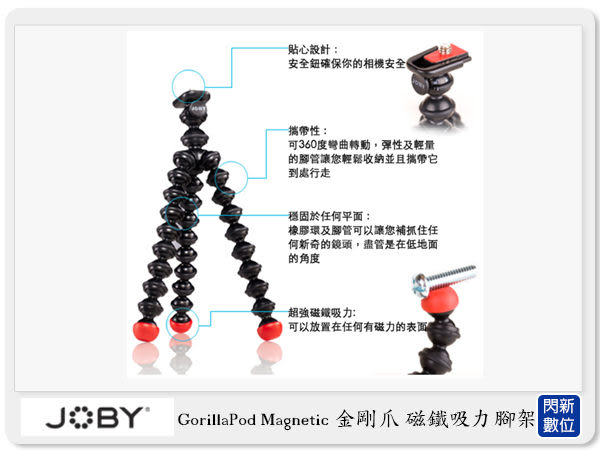 現貨! JOBY GorillaPod Magnetic GPM 金剛爪 磁鐵吸力腳架 章魚腳 可彎曲 變形(公司貨)JB5