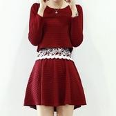 洋裝-蕾絲韓版小香風假兩件修身顯瘦長袖連身裙72f46【巴黎精品】