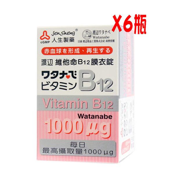 人生製藥渡邊維他命B12膜衣錠100mgX60錠 /  6瓶【媽媽藥妝】