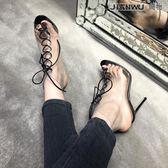 歐美真皮魚嘴綁帶高幫涼靴細跟高跟涼鞋女