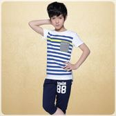 男童套裝 新款男童夏季套裝中大童T恤男童短袖圓領兒童條紋兩件套Mt1921『紅袖伊人』