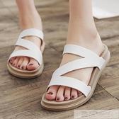 時尚一字拖鞋女士沙灘鞋厚底防滑平底夏季涼拖鞋外穿2020新款室外 夏季新品