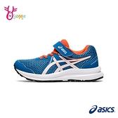 ASICS童鞋 男童慢跑鞋 CONTEND 7 PS 跑步鞋 魔鬼氈運動鞋 亞瑟士 大童 C9162#藍橘◆OSOME奧森鞋業