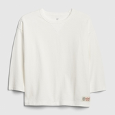 Gap男童棉質舒適圓領長袖T恤537772-光感亮白