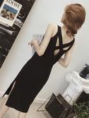 吊帶裙 中長款露背針織洋裝女早秋新款開叉吊帶修身小黑裙韓版吊帶裙子 果寶時尚