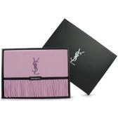 YSL經典LOGO刺繡素面流蘇披肩禮盒(紫色)989208-65