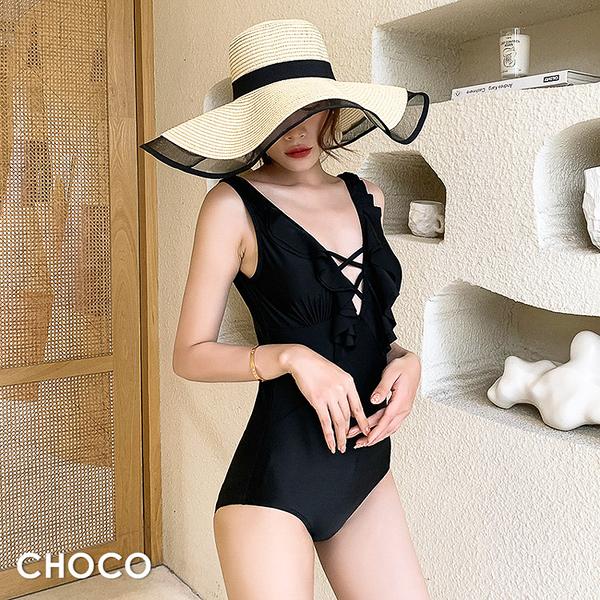 Choco Shop-醉品蘇維翁.荷葉領深V顯瘦連身泳衣(黑色) M~XL