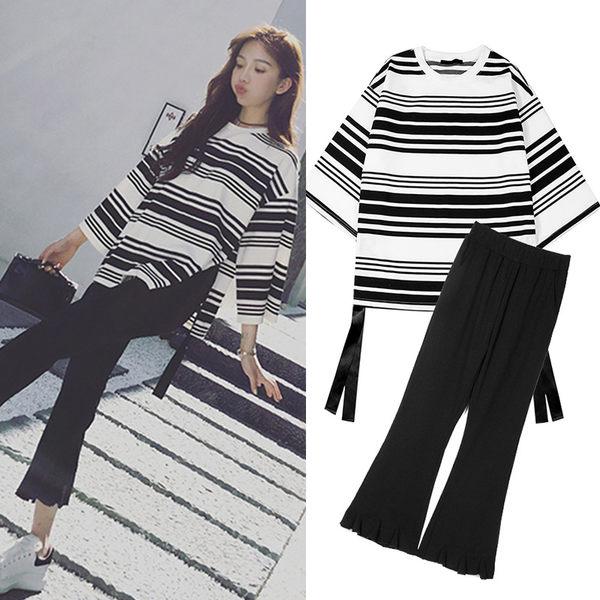 【GZ7R】時尚寬褲套裝韓版休閒時髦小香風兩件套套裝