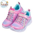 《布布童鞋》SKECHERS_Heart_Lights電燈彩虹粉兒童運動鞋(17~22公分) [ N1A08LG ]