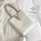 波卓爾車縫線針扣托特包2020新款潮復古時尚百搭手提單肩包包女包 非凡小鋪