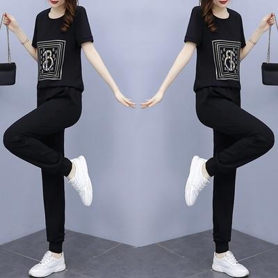 套裝2件套L-5XL大碼歐貨休閑顯瘦短袖t恤長褲運動套裝夏高端潮牌兩件套R031-A.1號公館