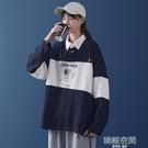 秋季新款polo衫連帽T恤寬鬆長袖女ins潮日系加絨韓版大碼女裝t恤上衣 韓語空間