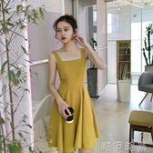 吊帶裙 夏季新款復古小清新高腰露顯瘦純色chic風寬鬆百搭吊帶連身裙 唯伊時尚