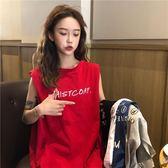 2019夏季新款韓版寬松bf風中長款無袖T恤