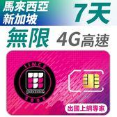 【TPHONE上網專家】新加坡/馬來西亞 無限4G高速上網卡 7天 不降速