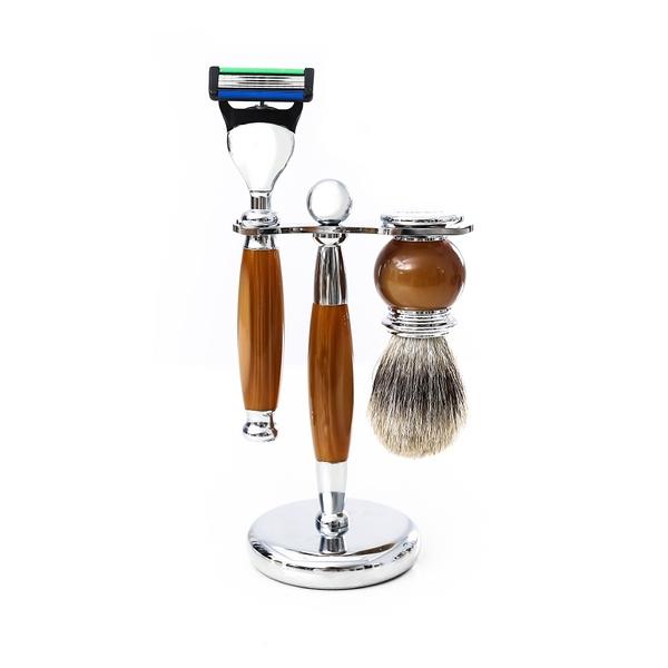 五刀式 刮鬍刀豪華禮盒四件組 - 仿琥珀 生日禮物 情人節禮物 聖誕節禮品