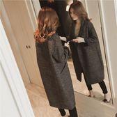 秋冬季毛呢外套韓版修身寬鬆妮子格子中長款女呢子大衣【博雅生活館】