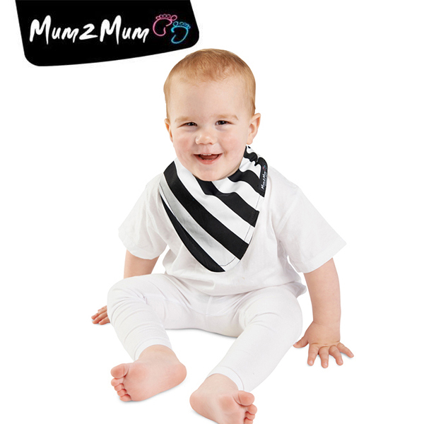 紐西蘭 MUM 2 MUM 雙面時尚造型口水巾圍兜 斑馬/黑
