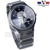 valentino coupeau 范倫鐵諾 古柏 個性 骷髏 大錶框 水晶鑽陶瓷 中性錶 夜光指針 黑色 V60207-1