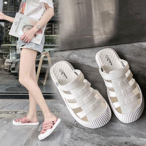拖鞋女夏外穿2020年新款女士涼拖網紅包頭洞洞半拖鞋沙灘塑料涼鞋 蘇菲小店
