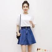 小清新套裝裙子少女夏季2020新款初中高中學生韓版洋裝兩件套裙 HX6023【花貓女王】